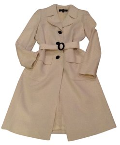 Kasper Pea Color Ivory Wool Pea Coat