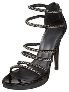 Stuart Weitzman Leather Patent Leather New Chain Black Patent Sandals