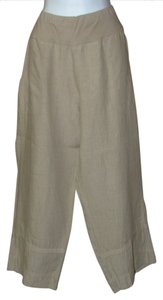 Banana Blue Linen Edgy European Capri/Cropped Pants Walnut