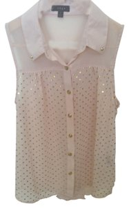 Edge Clothing Chiffon Chic Metallic Top Pink with Gold Polka Dots