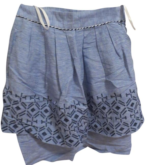 Odille Anthropologie Alpine Dream Embroidery Skirt chambray