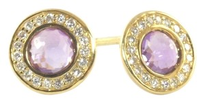 Ippolita Ippolita Earrings 18K Yellow Gold Dark Purple Amethyst Diamond Mini Small Stud