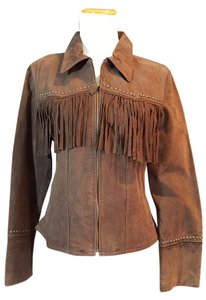 Mudd Fringe Suede Leather Studded Brown Leather Jacket