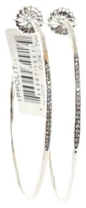 Ippolita Ippolita Sterling Siver Glamazon Diamond Hoop Earrings Stardust #4 Large Post