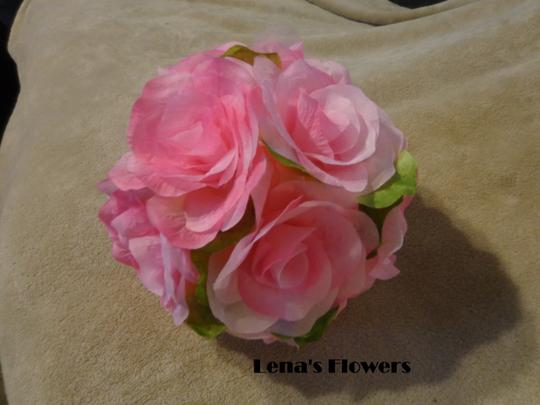 Beautiful Pink Silk Rose Bridal/bridesmaid Bouquet With Pink Satin And Pink Tulle.