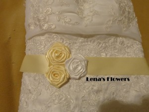 Satin Bridal Roses Sash. Ivory And White Handmade Just For Your Special Occasion.