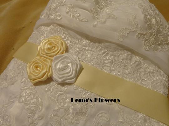 White and Beige Satin Roses Ivory Handmade Just For Your Special Occasion. Sash