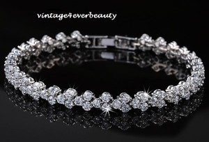 Zircon Bridal Braclet White Gold Plated