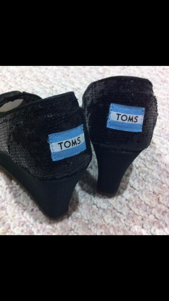 1ae1283045a7 TOMS Black Sequins Sparkle Open Toe Peep Toe Wedges Size US 8.5 ...