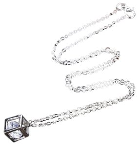 Other Crystal Cube Pendant w Silver Necklace