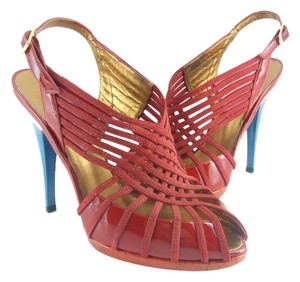 Roberto Cavalli & Caged Red & Blue Pumps