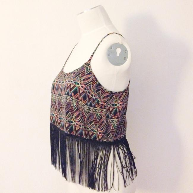Toskana Fringe Boho Bohemian Tribal Print Retro Crop Top Multi