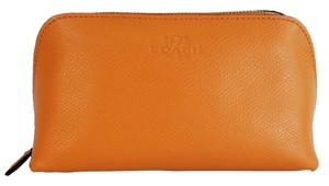 Coach Coach XGrain Cosmetic Case 17 Travel Pouch Leather Bag Purse NWT Orange Peel
