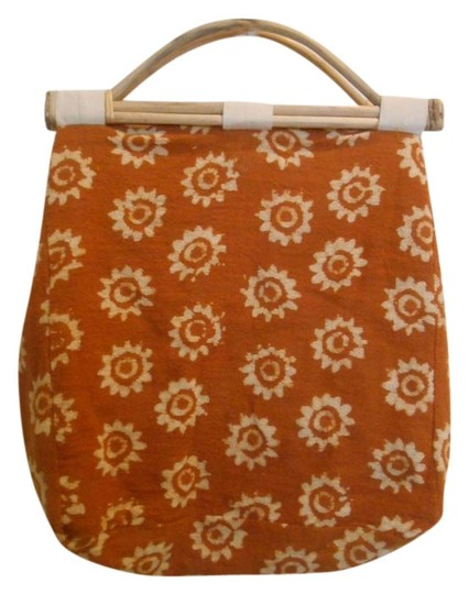 Preload https://img-static.tradesy.com/item/1001292/boho-knitting-shape-purse-sun-unique-orangy-brown-gold-with-cream-print-woven-cloth-lined-in-muslin-0-0-540-540.jpg