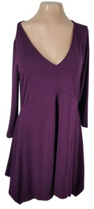 Three Dots short dress purple V-neck Spandex on Tradesy