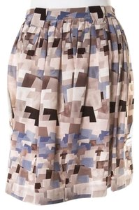 Cacharel Graphic Print Geometric Pleated Silk Skirt Grey, Brown, Periwinkle