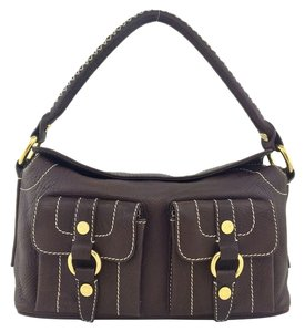Céline Gold Hardware Logo Satchel in Brown