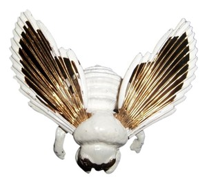 MONET MONET GOLD PLATED AND WHITE ENAMEL BUMBLE BEE PIN