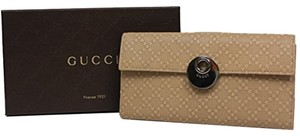 Gucci Gucci Diamante Leather Continental Flap Wallet 231835, Beige Cream