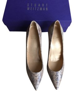 Stuart Weitzman Neutral Mushroom Crystal Snake Pumps