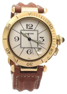 Cartier Cartier Pasha Automatic 1990 18K Gold Date Unisex Watch With Brown Leather Strap