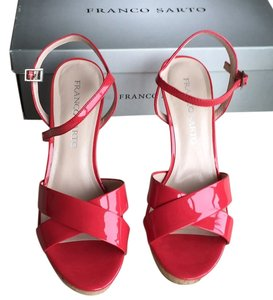 Franco Sarto Coral Cork High Heel Bright Red Bright Coral Sandals