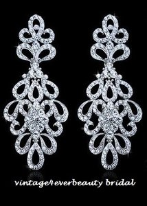 Austrian Crystals Silver Plated Bridal Earrings