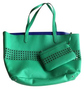 Ralph Lauren Faux Leather Tote in Green with blue interior