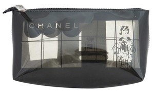 Chanel Chanel Windows Vinyl Transparent Cosmetic Makeup Pouch Pochette Zip Case