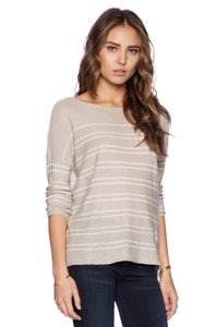 Joie Klaudia Kluadia 100% Linen Loose Slouchy Oversize Boatneck Wide Boat Neck Striped Casual Sweater