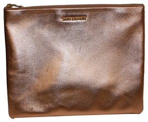 Saint Laurent Large Leather 328517 Rose Gold Clutch