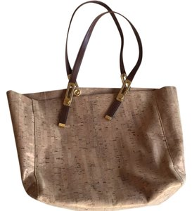 Stuart Weitzman Leather Linen Tote in cork shimmer