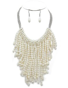 Other Rhodium Plated Links Multistrand Pearl Necklace and Earrings
