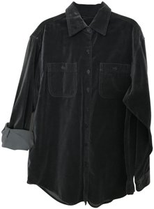 Jones New York Grey Velvet Long Sleeve Button Down Shirt Dark Charcoal