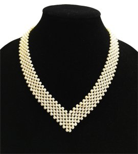 Faux Pearl V-Woven Necklace [ Roxanne Anjou Closet ]