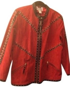 Louis Dell' Olio Red Suede Leather Jacket