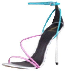 Brian Atwood Electric blue, pink, and silver Platforms