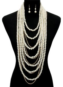 Multilayer Pearl Necklace and Earrings