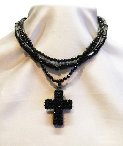 Black Crystal & Faux Jet Gothic Necklace [ Roxanne Anjou Closet ]