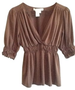 Studio M V-veck Ruched Spandex Blend Empire Waist 3/4 Sleeve Top Chocolate Brown