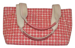 Kate Spade Dot Noel Canvas White Handbag Tote in Pink