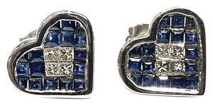 Other Heart Earrings with Natural Blue Sapphires & Diamonds in 14 Karat White Gold