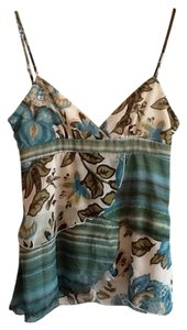 My Michelle Floral Print Chiffon Top Turquoise, tan, brown, olive, off-white