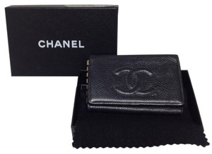 Chanel Chanel #4087 Black caviar leather Timeless CC logo flap 6 Ring Key Holder Trifold
