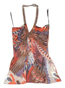 Sky Feather Print Chain Halter Top Orange and Blue