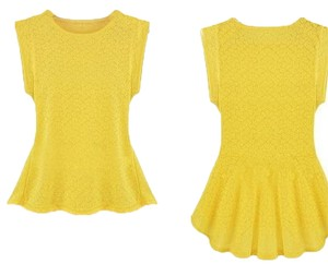 Vintage Look Lace Floral Spring Top Yellow