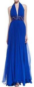 Catherine Malandrino Silk Embellished Empire Waist Halter Dress