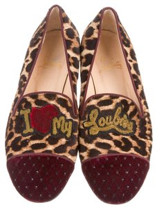 Christian Louboutin Beige Black Red Red, Brown Flats