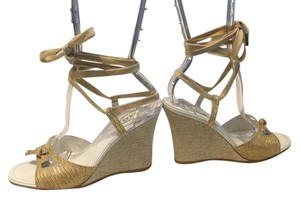 Tod's Ankle/Calf SALE Gold & Tan embossed leather ankle ties Italian open toe Wedges