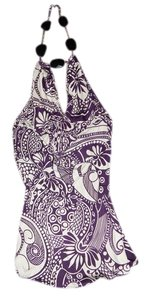 Sky Jewel Halter Print Silk Top Purple and White